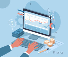 Investor Analyzing Financial Data And Planning Investments On Laptop. Character Preparing Financial Report. Accountant At Work. Accounting Concept. Flat Isometric Vector Illustration.