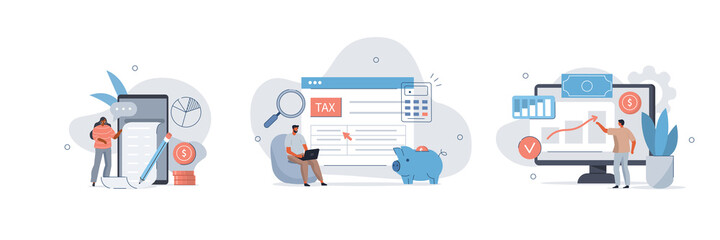 Various Finance Icons. Characters Calculating Long Bill or Invoice Online, Filling Tax From, Analyzing Financial Data.  Income Management Concept. Flat Cartoon Vector Illustration.