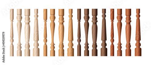 Fotografia Wooden baluster columns set, realistic balustrade pillars in different shade of