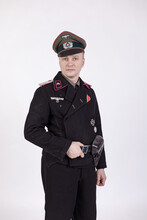 Male Actor Reenactor In Historical Uniform As An Officer Of The German Army During World War II