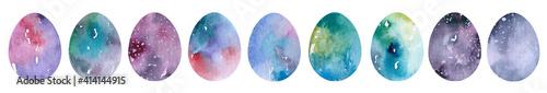 Obraz Set of realistic eggs on white background. Easter collection. illustration. - fototapety do salonu