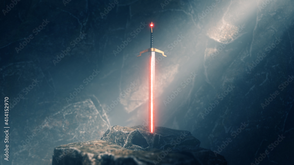 Fototapeta sword in the stone with light rays and dust specs in a dark cave