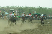 Pasuruan, Indonesia - January 28, 2020: Horse Racing Is An Equestrian Sport That Has Been Around For Centuries. Horses Are Trained To Race Towards The Finish Line Against Other Participants.