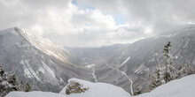 A Cold Mount Willard, Looking Down On Crawford Notch NH