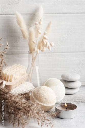 Photographie Spa composition with bath bombs