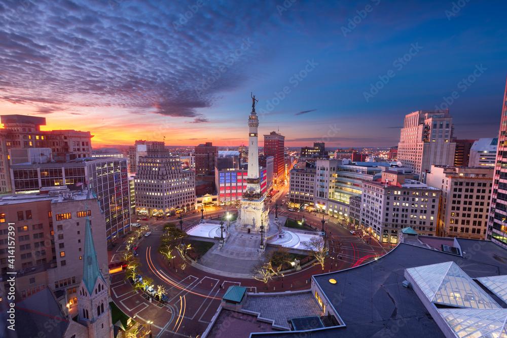 Fototapeta Indianapolis, Indiana, USA skyline over Monument Circle