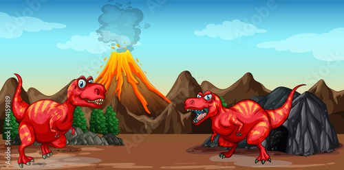 Two dinosaurs cartoon character in nature scene #414159189