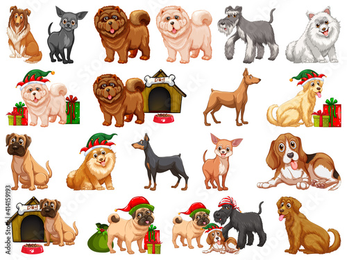 Different funny dogs in cartoon style isolated on white background #414159193