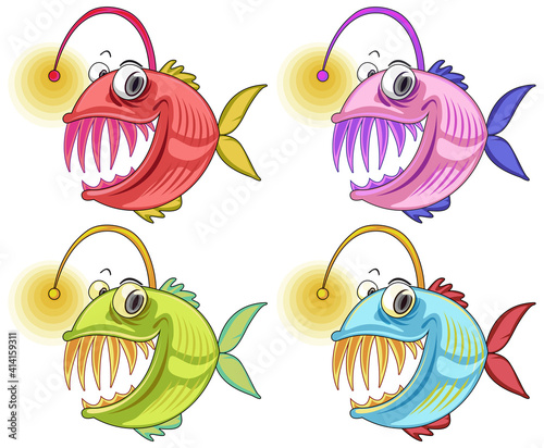 Angler Fish cartoon character isolated on white background #414159311