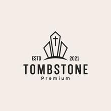 Tombstone With Cross Logo Design Vector
