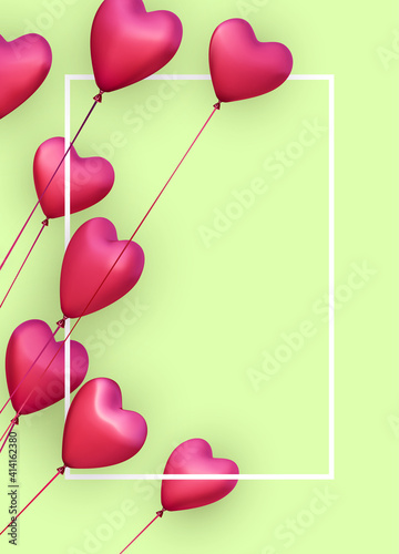 Green vertical banner with realistic 3d pink heart balloons. © Vjom