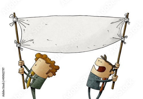 Fototapeta two men hold a blank banner while moving it. claim concept. isolated obraz