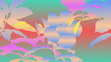 Fototapeta na wymiar Tropical plants and flower outline shapes in retro - vintage colorful gradient theme, classic techno 80s VHS digital age vibe inspiration