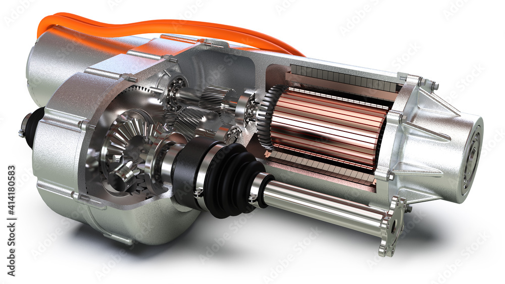 Fototapeta Elektromotor eines modernen Autos, Schnittansicht, Nahaufnahme, Detail