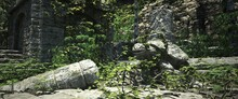 The Ruins Of An Old Abandoned Temple. Stone Turtle Statue Overgrown With Green Vegetation. Beautiful Authentic Landscape. Photorealitic 3D Illustration.