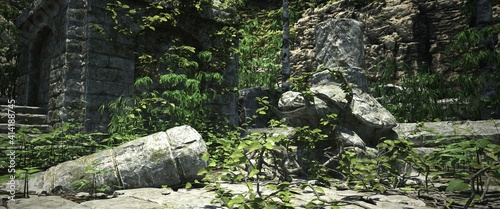 Obraz na płótnie The ruins of an old abandoned temple