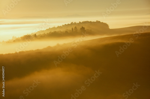 Fototapeta premium landscape with hills and fog