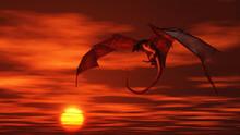 Red Dragon Attacking From A Vivid Orange Sunset Sky, 3d Digitally Rendered Fantasy Illustration