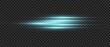 Blue glow light lens effect. Flash beams. Vector laser burst horizontal dynamic light.