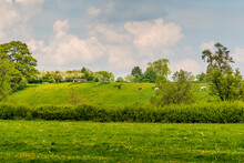 A View Across The Fields Towards The Hill Leading To The Village Of Gumley Near Market Harborough, UK In Springtime