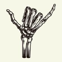 Skeleton Hand Showing Surfer Shaka Sign