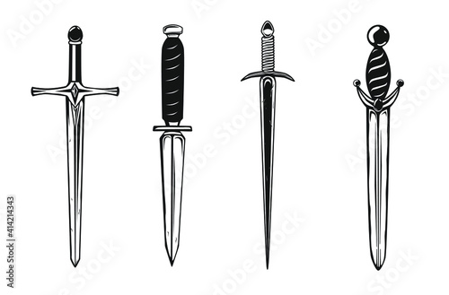 Obraz na plátně Collection of daggers isolated on white. Vector illustration.