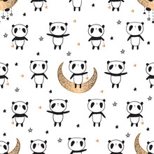 Seamless Pattern With Cute Pandas On The Gold Moon For Valentine's Day, Mother's Day, Father's Day, Birthday, Wedding, Gift Wrap, Textile Or Book Covers, Wallpapers And Scrapbook. Vector.