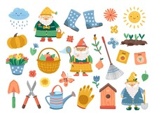 Spring Gardening Collection. Doodle Flower, Funny Cute Plant, Birdhouse. Isolated Farm Tools, Decorative Garden Gnomes Exact Vector Set. Illustration Spring Gardening, Gardener And Tools Collection