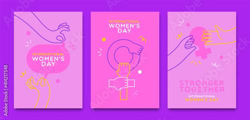 Obraz Women's Day pink woman hand outline card set - fototapety do salonu