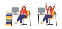 Office Woman Tired. Before After Hard Work, Manager Working. Angry And Happy Girl At Table Computer, Successful Employee Vector Character. Stressed Woman And Man Tired, Office Employee Exhausted