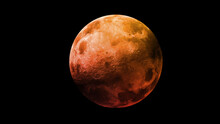Red Blood Moon. Super Moon In The Black Sky. View From Space. Elements Of This Image Furnished By NASA.