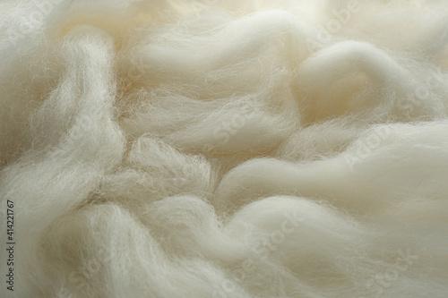 Obraz na plátně Soft white wool texture as background, closeup
