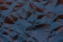 Geometric Background From Randomly Shifted Hexagonal Blue Blocks With Yellow Luminous Edges, Top View, 3d Rendering