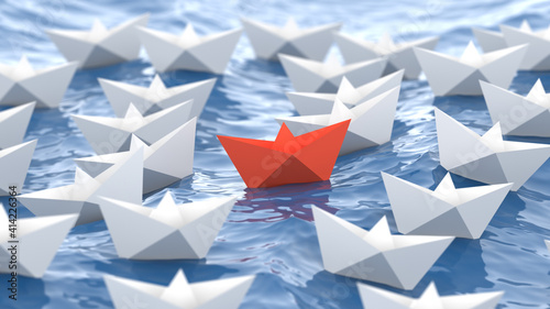 Obraz Leadership concept, red leader boat, standing out from the crowd of white boats, in the waves of the sea. 3D Rendering - fototapety do salonu