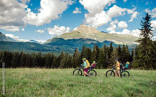Fotografia, Obraz Family with small children cycling outdoors in summer nature, Tatra mountains Slovakia