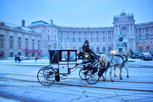 Horse-Drawn Carriage In Vienna Austria On A Winter Evening In The City With Beautify Snowfall
