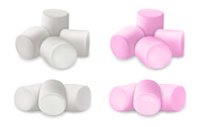 Realistic Detailed 3d Fluffy Marshmallows Set. Vector