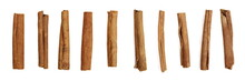 Set Cinnamon Sticks Isolated On White Background, Top View