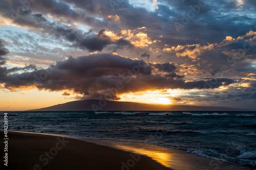 Obraz na plátně Sunset Seascape with Clouds Like Mothership Over Island on Horizon