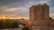 Roman Bridge and Tower in Cordoba with a Sunset