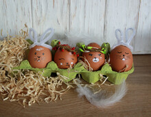 DIY Cute Easter Eggs With Animal Faces In A Green Egg Stand On A Wooden Background With Feathers And Straw, Easter Festive Decor