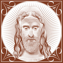 Vector Image Of Jesus Christ In The Style Of Classical Graphics Postcard Engraving Icon