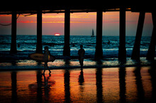 The Venice Beach Pier At Sunset
