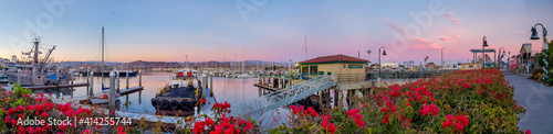 Fototapeta A panorama of a calm harbor of ships under a pink sunset with red and pink bougainvillea plants in the foreground