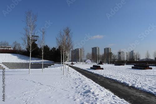 Fototapeta Katowice centrum miasta zimą obraz
