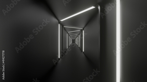 Fotografie, Obraz 3d rendering of corridor finion White black abstract