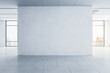 canvas print picture - Light blank concrete wall in the center of empty hall room with big windows and city view. Mockup