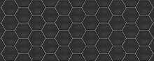 Dark Grey Hexagon Ceramic Tiles. Modern Seamless Pattern, Dark Grey Colored Hexagon Ceramic Tiles.