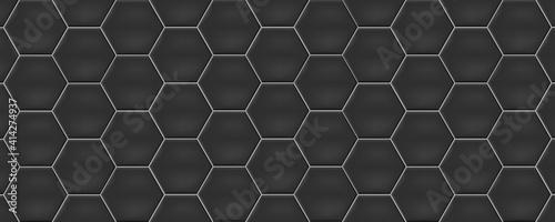 Fotografie, Tablou Dark grey hexagon ceramic tiles