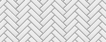 Vertical White Colored Brick Ceramic Tiles. Modern Seamless Pattern, Herringbone Brick Effect Metro Ceramic Tiles.